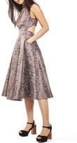 Topshop Women's Metallic Jacquard Midi Dress