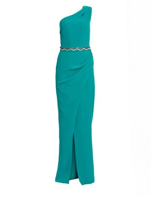 Safiyaa Camille Heavy Crepe One-Shoulder Gown