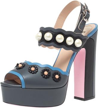 Fendi Grey Leather Pearl Studded Platform Ankle Strap Sandals Size 39