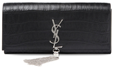 Classic Monogram Croc Leather Large Tassel Clutch