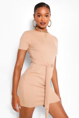 boohoo Tie Front Rib Midi Dress