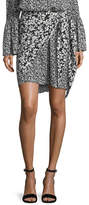 Michael Kors Floral-Print Crepe de Chine Silk Pareo Skirt
