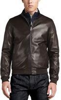 Salvatore Ferragamo Reversible Sheepskin Leather to Nylon Blouson Jacket, Chocolate/Navy