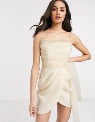 ASOS DESIGN organza cami mini dress wih drape skirt in Cream