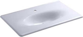 Kohler Iron/impressions 37-in Vanity-top Bathroom Sink with Single Faucet Hole