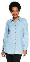 Denim & Co. Long Sleeve Lightweight Stretch Denim Big Shirt Tunic