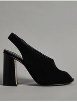 Autograph Suede Metal Heel Slingback Court Shoes