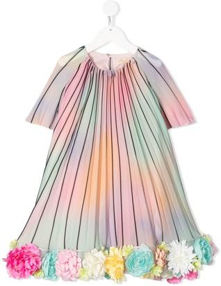 Pamilla Flower-Embellished Striped Dress