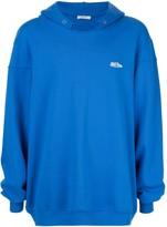 we11done distressed collar hoodie