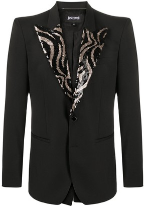 Just Cavalli Embellished-Lapel Single Breasted Blazer