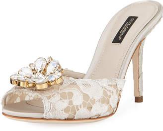 Dolce & Gabbana Keria Jeweled Lace High-Heel Slide Sandals - White