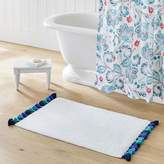 Pottery Barn Teen Tassel Border Bath Mat, Blue Multi