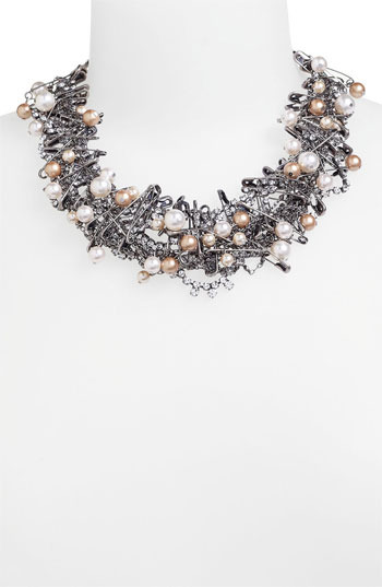 Tom Binns 'Punk Chic Pearls' Statement Necklace Silver Multi