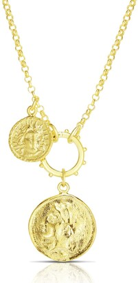Sphera Milano 14K Yellow Gold Plated Sterling Silver Layered Coin Pendant Necklace