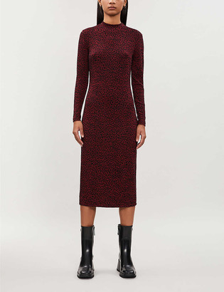 Whistles Animal-print long-sleeved jersey dress