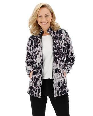Capsule Grey Leopard Print Fleece Jacket