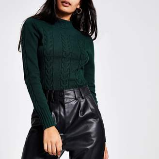 River Island Womens Green long sleeve cable knitted jumper