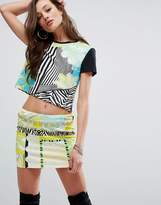 Versace Neoprene Crop Top With Stripe And Floral Print