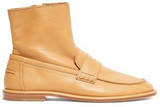 Loewe Leather Loafer Boots - Womens - Tan