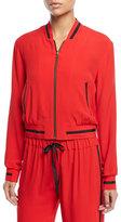 Alexis Bentley Zip-Front Bomber Jacket
