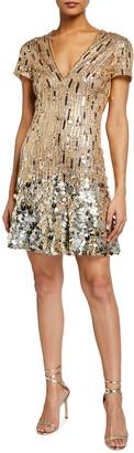 Jenny Packham Cap-Sleeve Deep-V Cap Sleeve Dress
