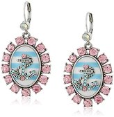"Betsey Johnson Anchors Away"" Anchor Striped Cameo Drop Earrings"