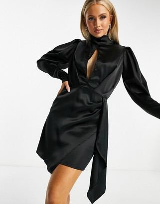 I SAW IT FIRST satin high neck keyhole drape mini dress in black