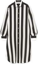 Dolce & Gabbana Striped Silk Crepe De Chine Shirt - Black