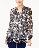Style&Co. Style & Co Petite Printed Smocked Top, Created for Macy's