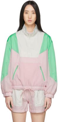 Sjyp Pink and Green Colorblock Windbreaker Jacket