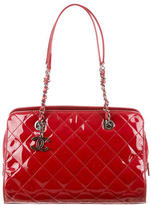 Chanel Quilted Patent Bowler Bag