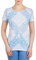 Allison Daley Wide Crew Neck Blue Patch Print Knit Top