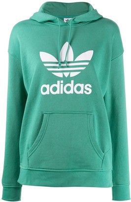 adidas Adicolor Trefoil-print cotton hoodie