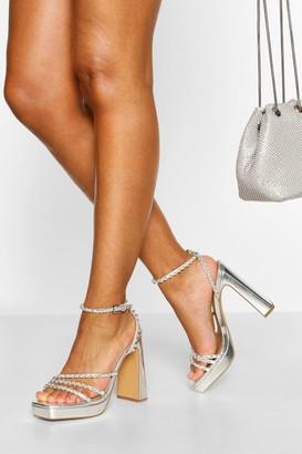 boohoo Embellished Strappy Platform Heels