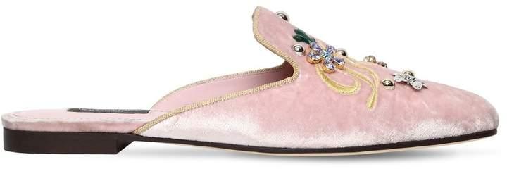 Dolce & Gabbana 10mm Jackie Embellished Velvet Mules