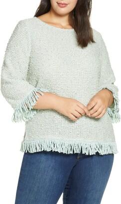 Vince Camuto Fringe Trim Sweater