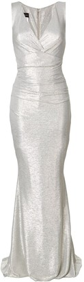 Talbot Runhof v-neck ruched gown