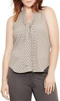 Lauren Ralph Lauren Plus Foulard Print Tie Neck Top