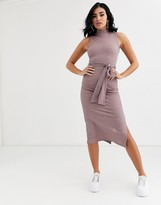 Asos DESIGN sleeveless rib midi dress with open back in pink marl