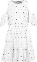 Tanya Taylor Cold-shoulder embroidered cotton-blend poplin mini dress