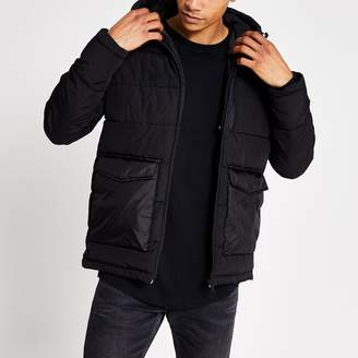 Jack and Jones Mens River Island Black hooded puffer jacket