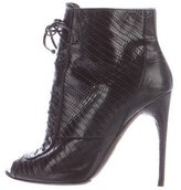 Tom Ford Lizard Peep-Toe Ankle Boots