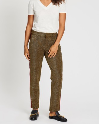 Scotch & Soda Tapered Lurex Pants With Velvet Side Panel