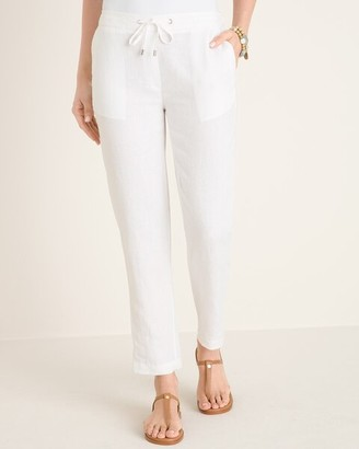 Chico's Linen Drawstring Ankle Pants