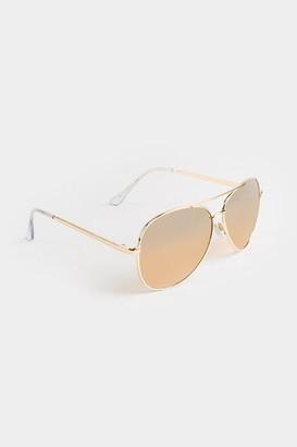 francesca's Mell Oversized Mirror Aviator Sunglasses - Gold