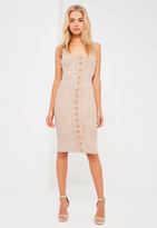 Missguided Nude Suede Eyelet Detail Midi Dress