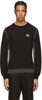 Kenzo Black Embroidered Waffle Knit Pullover
