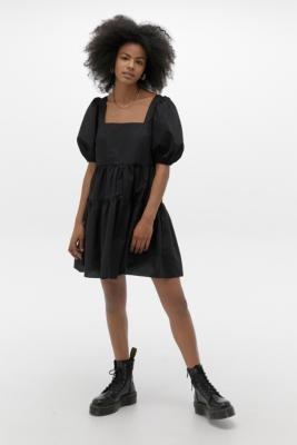 Urban Outfitters Poplin Fleur Babydoll Mini Dress - black XS at