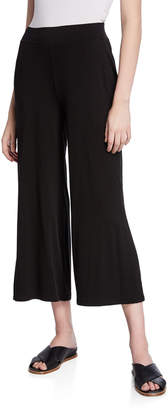 Eileen Fisher Wide-Leg Jersey Crop Pants with Side Slits