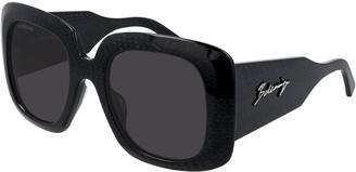 Balenciaga Oversized Square Textured Acetate Sunglasses
